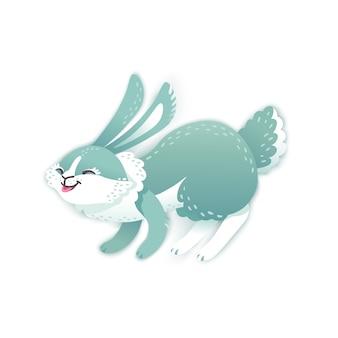 笑顔の漫画のウサギ。面白いバニー。かわいいうさぎ。