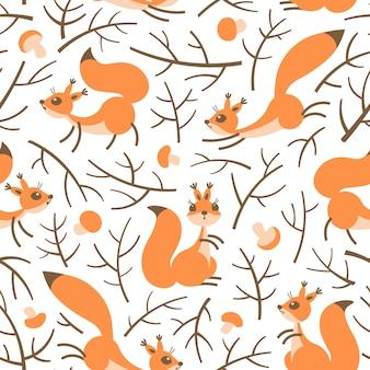秋の森の小さなかわいいリス。ギフト包装、壁紙、子供部屋や服のシームレスな秋パターン。