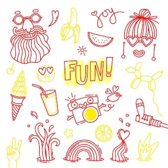 楽しさと感情の喜び。ヒッピースタイルの生活。設計のためのベクトル要素のセット