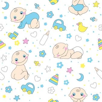 赤ちゃん男の子のためのシームレスなパターン。