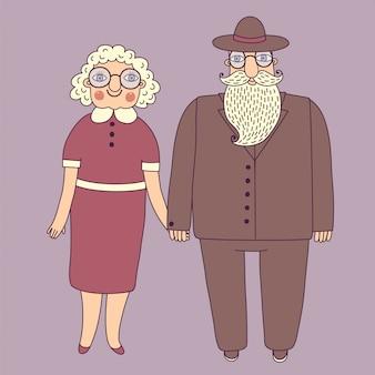 老夫婦。祖父母。