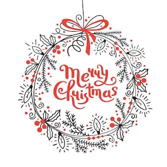 メリークリスマスカード。モミの枝、ヒイラギ、ガーランドライトのお祝い花輪