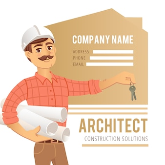 Архитектор в шлеме с чертежами и ключами в руках на фоне построенного дома
