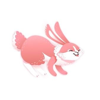 Улыбающийся мультфильм кролик. забавный кролик милый заяц векторная иллюстрация