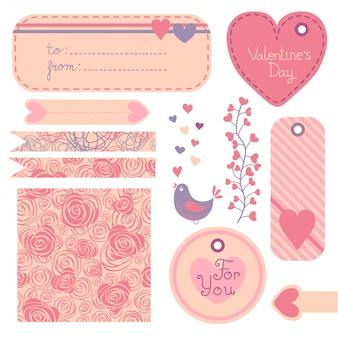 バレンタインデーのデザイン要素のセットです。