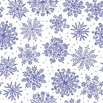 Рисованной снежинки. бесшовные модели