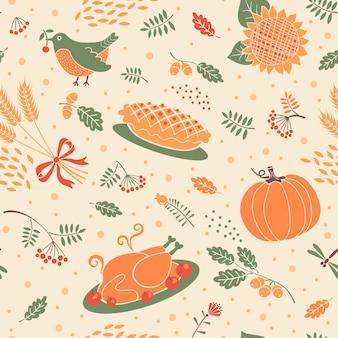 カボチャ、葉、小麦、トルコとのシームレスなパターン。