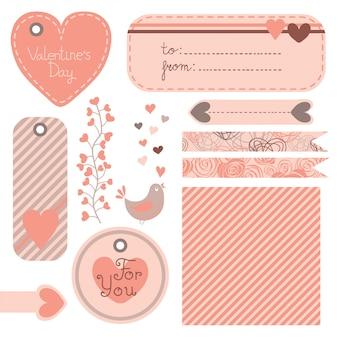 バレンタインデーのポスト、タグ、ラベルのセット