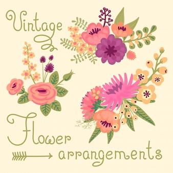 Старинные цветы. симпатичные букеты для дизайна.
