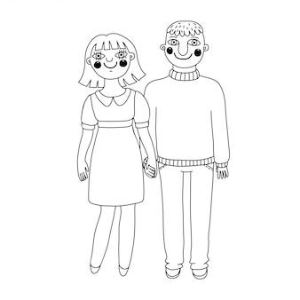 Рисованные мужчина и женщина. молодая влюбленная пара.