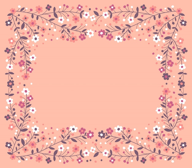 Красивая рамка из цветущих ветвей
