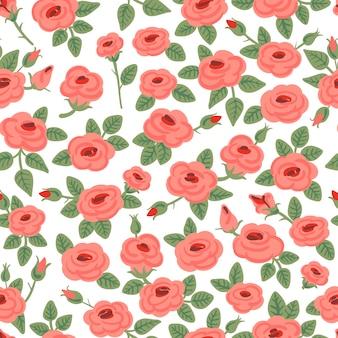 バラのシームレスなパターン。