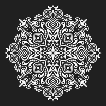 Черно-белая цветочная мандала
