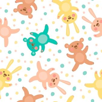 Дети бесшовный образец с милыми медведями и зайцами.