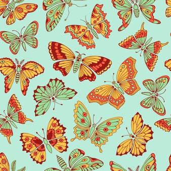 装飾的な蝶とのシームレスなパターン。ベクトルイラスト