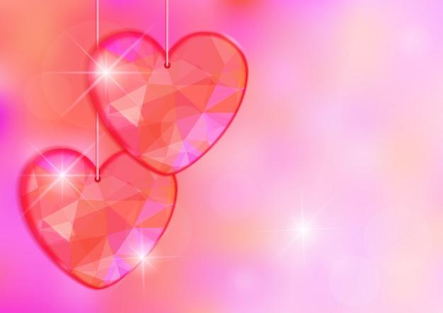 День святого валентина карты с драгоценным сердцем на фоне светового эффекта.