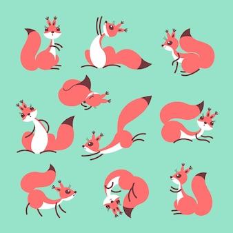 Мультфильм милая белка. маленькие смешные белки. иллюстрация