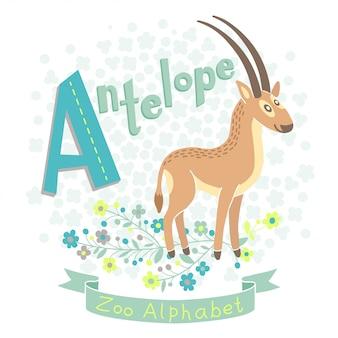Иллюстрация милые антилопы в мультяшном стиле. буква а