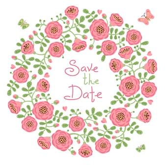 花の花輪を持つ日付の招待状を保存します。