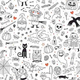 ハロウィーンのシームレスパターン。カボチャ、幽霊、猫、頭蓋骨、コウモリなどのシンボル。