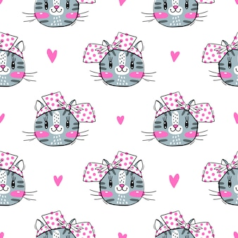猫と弓のかわいいフェイズとのシームレスなパターン。ファッションかわいいキティ。図