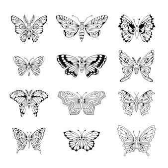 蝶の装飾的な孤立したシルエットのセット