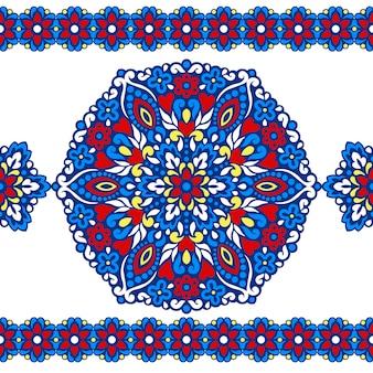 抽象的な民族の装飾品とのシームレスなパターン。