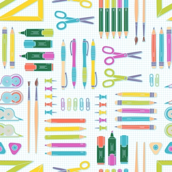 シームレスパターンベクトル。学校やオフィスの要素
