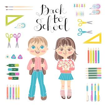 Установите образовательные элементы дизайна. студенты девочка и мальчик. надпись обратно в школу.