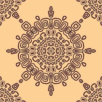 円形飾りのシームレスな民族パターン