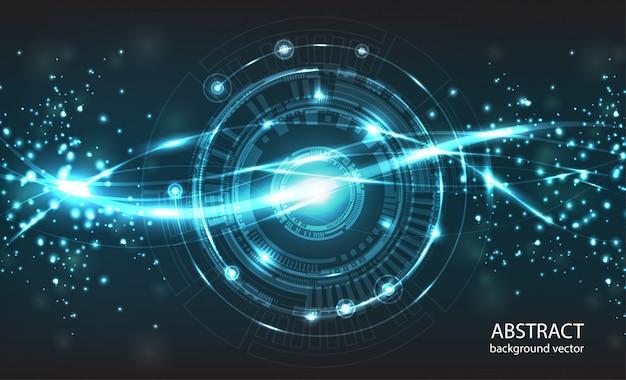 抽象的な技術のベクトルの背景。コンポジションには明るい光とぼやけた粒子があります。