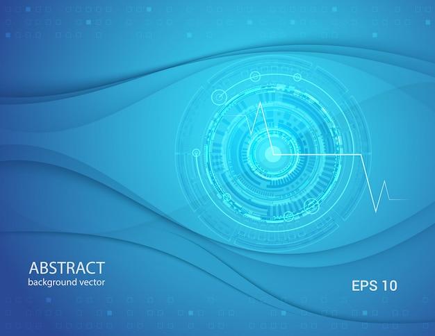 抽象的なブルーテクノロジーの目の背景。