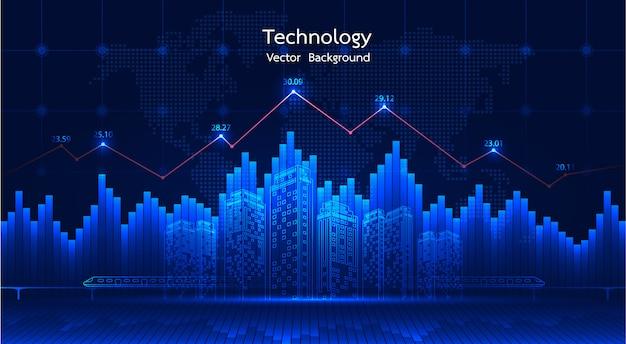 Городской фон финансовый график на ночной городской пейзаж с высотой зданий фоне двойной экспозиции. график график экономического роста.