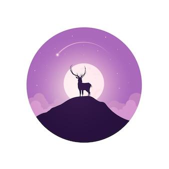 冬の季節とクリスマスの日のイラスト。背景に鹿と月。