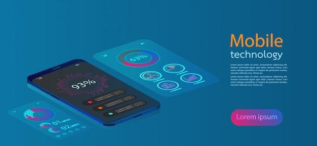 モバイル画面現代のインフォグラフィック。