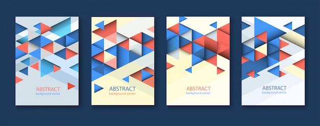 抽象的なカラフルな幾何学的三角形の背景。現代のチラシ。