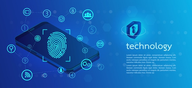 Безопасность фон с замком сканирование отпечатков пальцев.