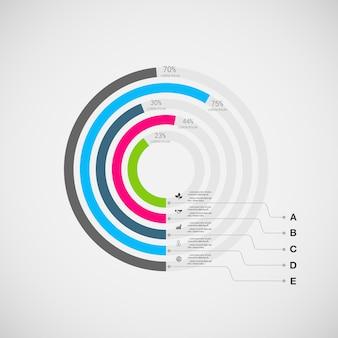 インフォグラフィックを設定します。プレゼンテーションと円グラフ。オプションのビジネスコンセプト。
