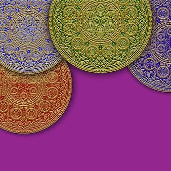 イスラムの丸い飾りと背景
