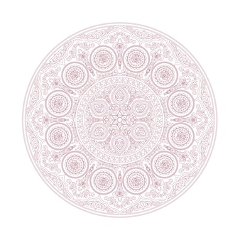 Нежный узор мандалы в стиле бохо на белом