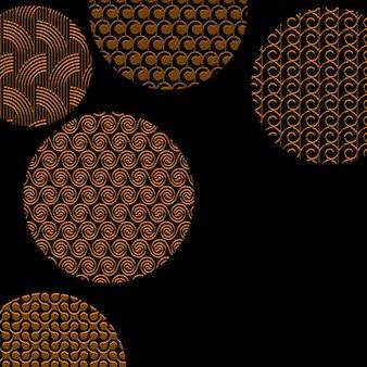 Золотые круги с различными узорами на черном с обтравочной маской