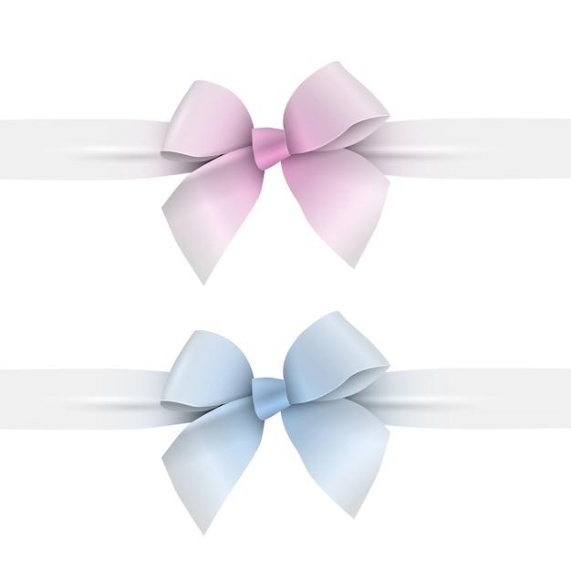 Розовые и голубые пастельные тона бантики с лентами