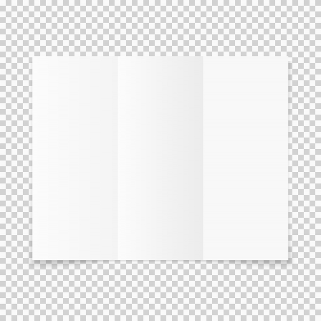 空白の白い三つ折り紙のパンフレットの影