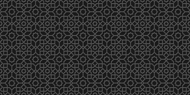 黒のオリエンタルスタイルのシームレスパターン