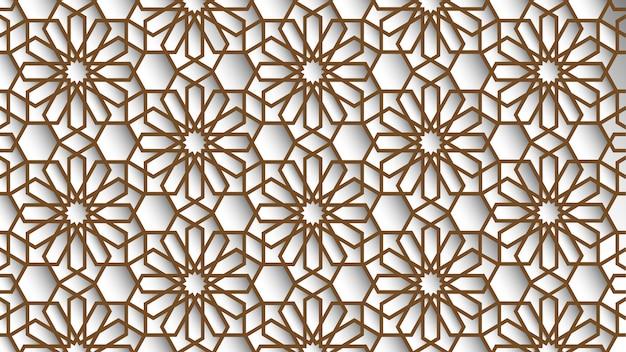 白とベージュ色のオリエンタルパターン