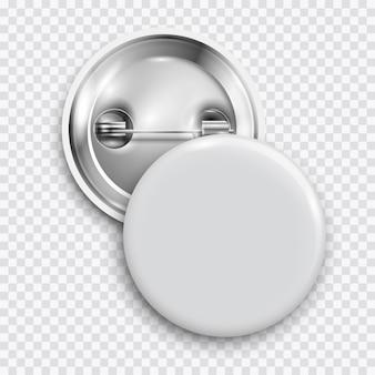 Белый пустой значок, круглая кнопка, кнопка булавки изолированы