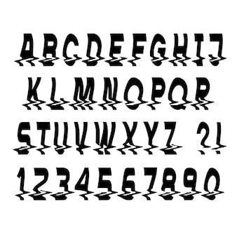 黒の最小限のグリッチフォントの文字と数字
