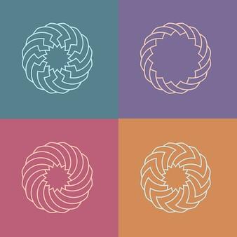 丸い線形パターンロゴのセット