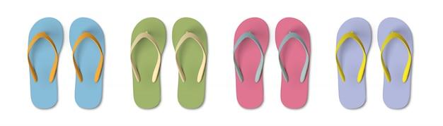 Набор цветных шлепанцев - летние, пляжные тапочки