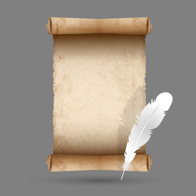 Старая бумага с пером